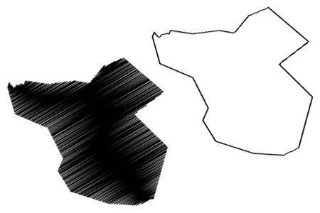 Moka District (Republic of Mauritius, island, Districts of Mauritius) map vector illustration, scribble sketch Moka map Ilustração