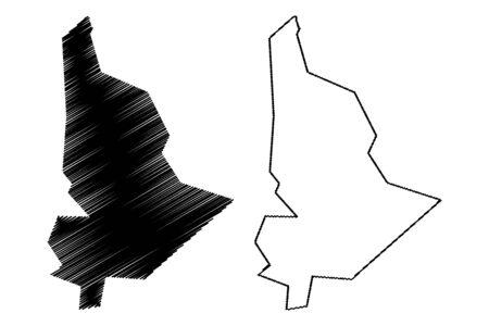 Plaines Wilhems District (Republic of Mauritius, island, Districts of Mauritius) map vector illustration, scribble sketch Plaines Wilhems map Ilustração