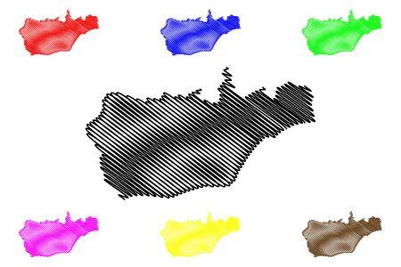 Viqueque Municipality (Municipalities of East Timor, Democratic Republic of Timor-Leste, island) map vector illustration, scribble sketch Viqueque map