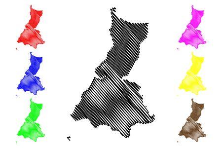 Litoral (Republic of Equatorial Guinea, Provinces of Equatorial Guinea) map vector illustration, scribble sketch Litoral Province map