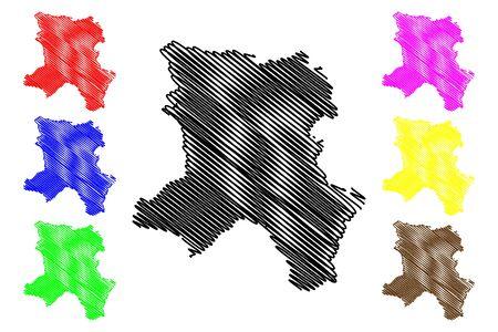 District of Ferizaj (Republic of Kosovo and Metohija, Districts of Kosovo, Republic of Serbia) map vector illustration, scribble sketch Urosevac map Ilustrace
