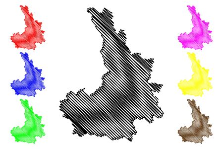 District of Pristina (Republic of Kosovo and Metohija, Districts of Kosovo, Republic of Serbia) map vector illustration, scribble sketch Pristina map