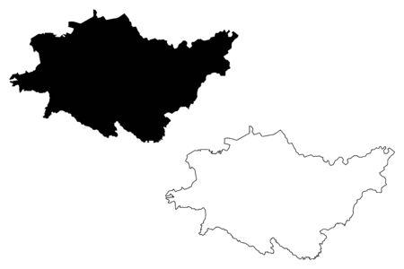 Dagda Municipality (Republic of Latvia, Administrative divisions of Latvia, Municipalities and their territorial units) map vector illustration, scribble sketch Dagda map