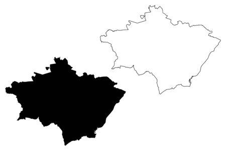 Gulbene Municipality (Republic of Latvia, Administrative divisions of Latvia, Municipalities and their territorial units) map vector illustration, scribble sketch Gulbene map Ilustrace