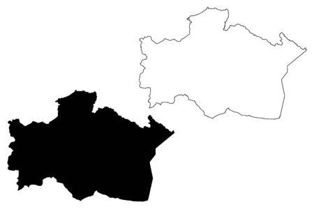 Kraslava Municipality (Republic of Latvia, Administrative divisions of Latvia, Municipalities and their territorial units) map vector illustration, scribble sketch Kraslava map Illustration