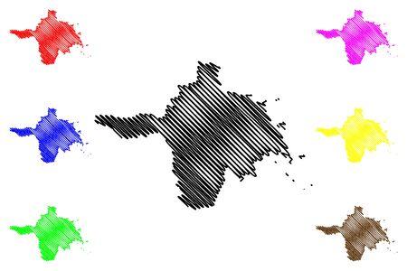Hiiu County (Republic of Estonia, Counties of Estonia) map vector illustration, scribble sketch Hiiumaa island map
