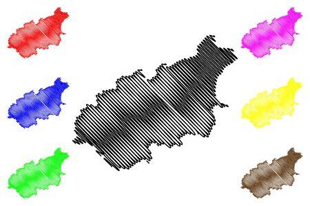 Jogeva County (Republic of Estonia, Counties of Estonia) map vector illustration, scribble sketch Jogevamaa map