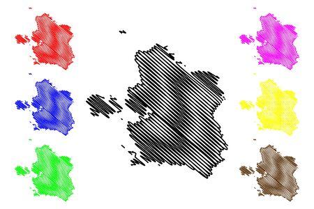 Laane County (Republic of Estonia, Counties of Estonia) map vector illustration, scribble sketch Laanemaa map