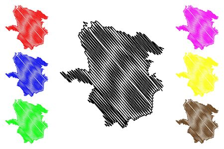 Laane-Viru County (Republic of Estonia, Counties of Estonia) map vector illustration, scribble sketch Laane-Virumaa map