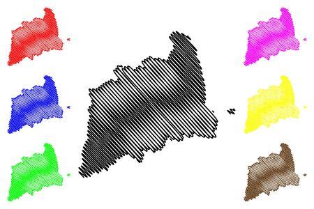 Tartu County (Republic of Estonia, Counties of Estonia) map vector illustration, scribble sketch Tartumaa map Illustration