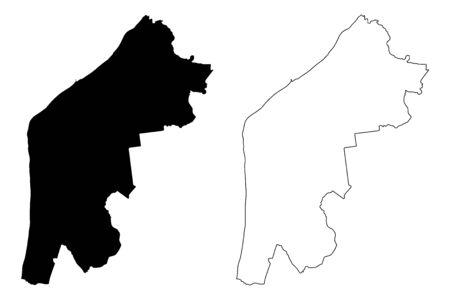 Pavilosta Municipality (Republic of Latvia, Administrative divisions of Latvia, Municipalities and their territorial units) map vector illustration, scribble sketch Pavilosta map  イラスト・ベクター素材