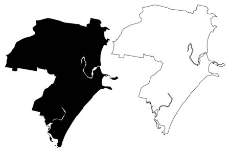 Coffs Harbour City, New South Wales (Commonwealth of Australia, Australia city) map vector illustration, scribble sketch City of Coffs Harbour map