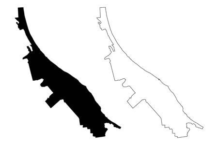 Roja Municipality (Republic of Latvia, Administrative divisions of Latvia, Municipalities and their territorial units) map vector illustration, scribble sketch Roja map