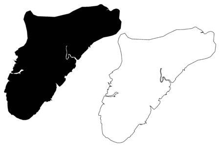 Suva City (Republic of Fiji) map vector illustration, scribble sketch City of Suva map