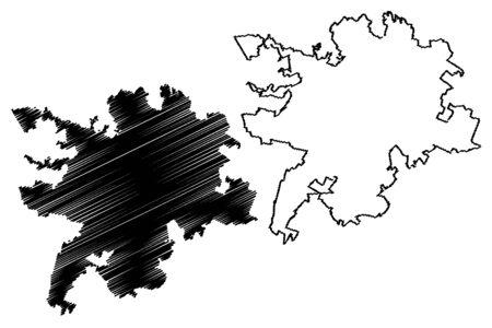 Bergamo City (Italian Republic, Italy, Lombardy) map vector illustration, scribble sketch City of Bergamo map