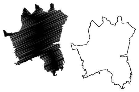 Katowice City (Republic of Poland, Silesian) map vector illustration, scribble sketch City of Katowice map Ilustracje wektorowe
