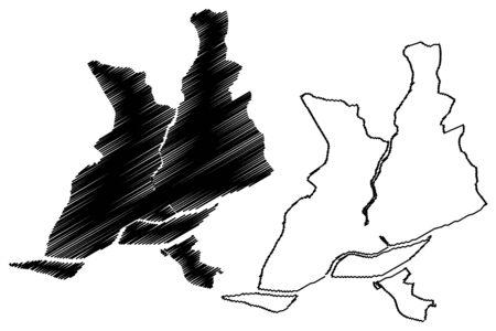 Nantes City (French Republic, France, Pays de la Loire) map vector illustration, scribble sketch City of Nantes map Illustration