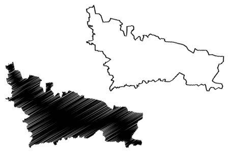 Nicosia City (Republic of Cyprus, Northern Cyprus, island) map vector illustration, scribble sketch City of Nicosia map