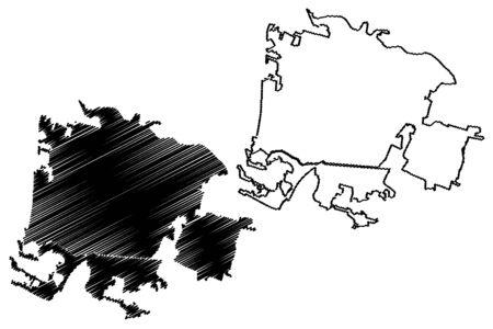 Padua City (Italian Republic, Italy, Veneto) map vector illustration, scribble sketch City of Padova map