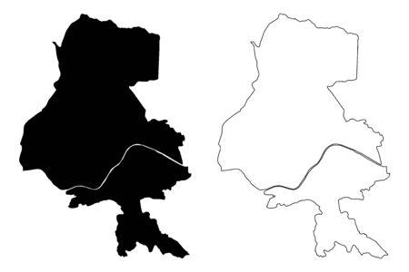 Innsbruck City (Republic of Austria, Tyrol) map vector illustration, scribble sketch City of Innsbruck map Stock Illustratie