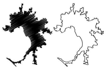 Melbourne City, Victoria (Commonwealth of Australia, Australia city) map vector illustration, scribble sketch City of Melbourne map Иллюстрация