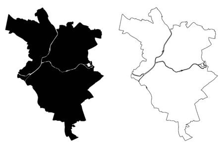 Le Mans City (French Republic, France) map vector illustration, scribble sketch City of Le Mans map