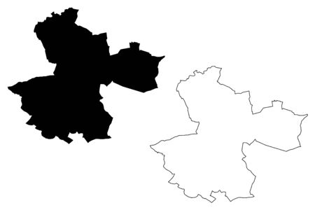 Perpignan City (French Republic, France) map vector illustration, scribble sketch City of Perpignan map