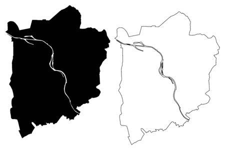 Mulheim an der Ruhr City (Federal Republic of Germany, North Rhine-Westphalia) map vector illustration, scribble sketch City of Mulheim map Vektorgrafik