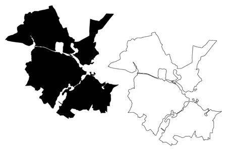 Potsdam City (Federal Republic of Germany, Brandenburg) map vector illustration, scribble sketch City of Potsdam map