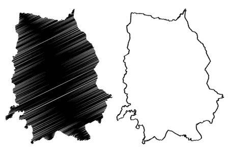 Cesvaine Municipality (Republic of Latvia, Administrative divisions of Latvia, Municipalities and their territorial units) map vector illustration, scribble sketch Cesvaine map  イラスト・ベクター素材