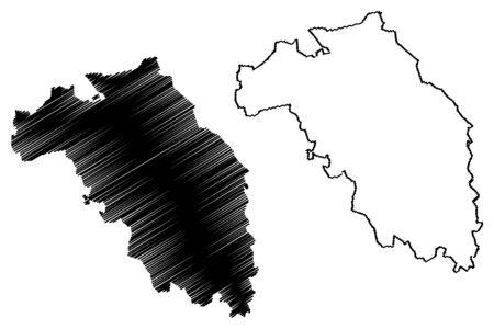 Koceni Municipality (Republic of Latvia, Administrative divisions of Latvia, Municipalities and their territorial units) map vector illustration, scribble sketch Koceni map