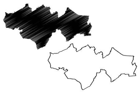 Krustpils Municipality (Republic of Latvia, Administrative divisions of Latvia, Municipalities and their territorial units) map vector illustration, scribble sketch Krustpils map