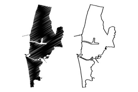 Liepaja City (Republic of Latvia, Administrative divisions of Latvia, Republican cities) map vector illustration, scribble sketch Liepaja map Illustration