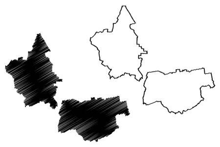 Rauna Municipality (Republic of Latvia, Administrative divisions of Latvia, Municipalities and their territorial units) map vector illustration, scribble sketch Rauna map