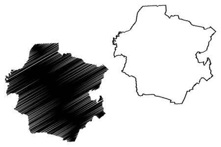 Rugaji Municipality (Republic of Latvia, Administrative divisions of Latvia, Municipalities and their territorial units) map vector illustration, scribble sketch Rugaji map