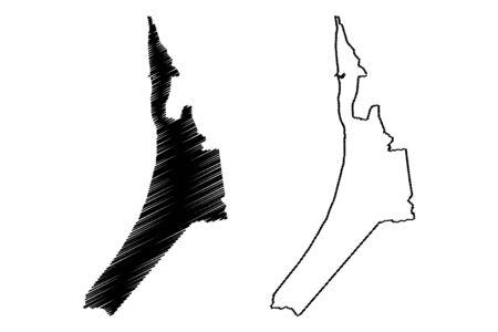 Saulkrasti Municipality (Republic of Latvia, Administrative divisions of Latvia, Municipalities and their territorial units) map vector illustration, scribble sketch Saulkrasti map