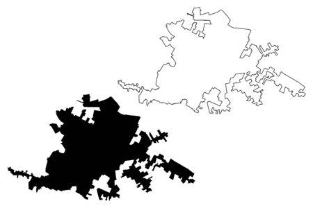 Latina City (Italian Republic, Italy, Lazio) map vector illustration, scribble sketch City of Littoria map