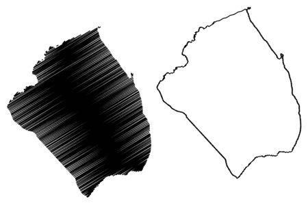 Obock Region (Republik Dschibuti, Horn von Afrika, Golf von Aden) Kartenvektorillustration, kritzeln Sie Skizze Obock Karte