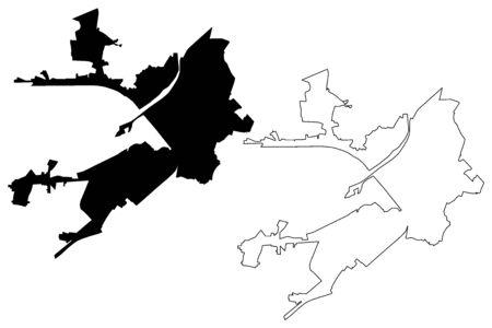 Alessandria City (Italian Republic, Italy, Piedmont) map vector illustration, scribble sketch City of Alessandria map