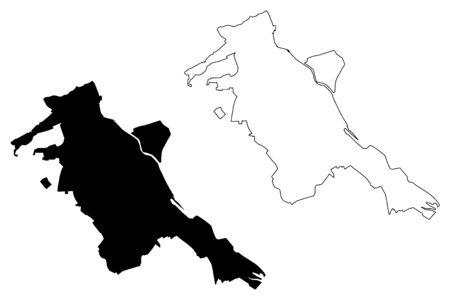 Pitesti City (Republic of Romania, Arges County) map vector illustration, scribble sketch City of Pitesti map 向量圖像