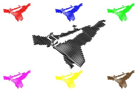 Babite Municipality (Republic of Latvia, Administrative divisions of Latvia, Municipalities and their territorial units) map vector illustration, scribble sketch Babite map