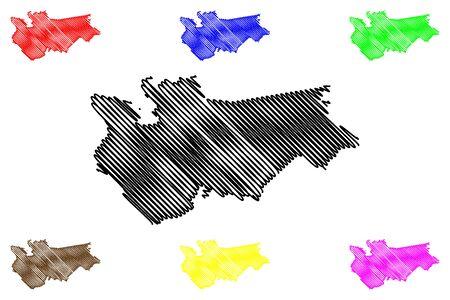 Ikskile Municipality (Republic of Latvia, Administrative divisions of Latvia, Municipalities and their territorial units) map vector illustration, scribble sketch Ikskile map  イラスト・ベクター素材