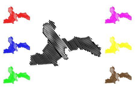 Kekava Municipality (Republic of Latvia, Administrative divisions of Latvia, Municipalities and their territorial units) map vector illustration, scribble sketch Kekava map