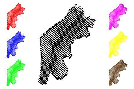 Pavilosta Municipality (Republic of Latvia, Administrative divisions of Latvia, Municipalities and their territorial units) map vector illustration, scribble sketch Pavilosta map Illustration