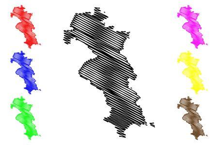 Riebini Municipality (Republic of Latvia, Administrative divisions of Latvia, Municipalities and their territorial units) map vector illustration, scribble sketch Riebini map