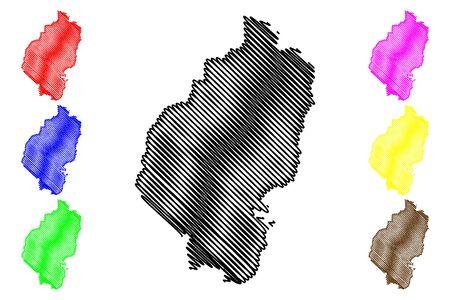 Vilaka Municipality (Republic of Latvia, Administrative divisions of Latvia, Municipalities and their territorial units) map vector illustration, scribble sketch Vilaka map  イラスト・ベクター素材