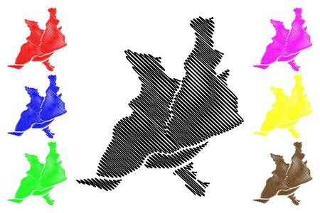 Nantes City (French Republic, France, Pays de la Loire) map vector illustration, scribble sketch City of Nantes map Ilustração