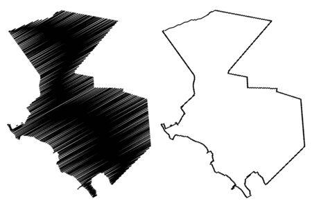 Aktau City (Republic of Kazakhstan, Mangystau Province) map vector illustration, scribble sketch City of Shevchenko map Иллюстрация