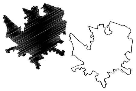 Andria City (Italian Republic, Italy, Apulia) map vector illustration, scribble sketch City of Andria map