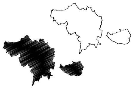 Ceske Budejovice City (Czech Republic, Czechia) map vector illustration, scribble sketch City of Ceske Budejovice map 矢量图像
